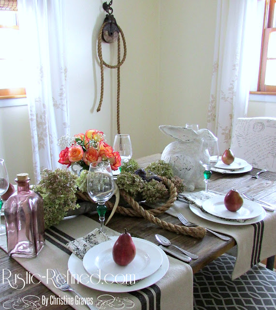 Tablescape for any season on a industrial dining table for that mix of rustic and modern decor