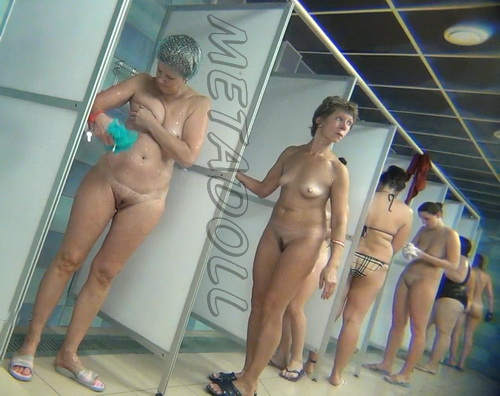 Hidden cam in the shower room for ladies (Hidden Camera Public Shower 45-54)