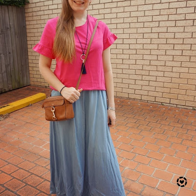 awayfromtheblue instagram hot pink frill sleeve tee with blue chambray maxi skirt tan rebecca minkoff MAb camera bag