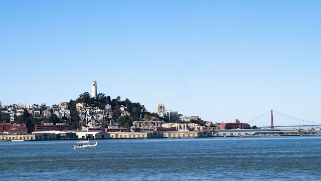 Coit Tower and the Golden Gate Bridge viewed from the San Francisco Bay Ferry