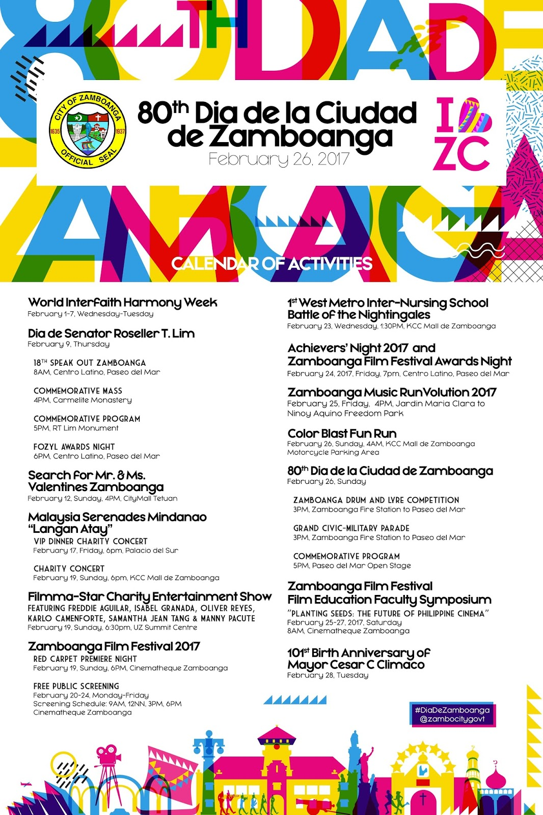80th Dia de la Ciudad de Zamboanga Calendar of Activities Poster design