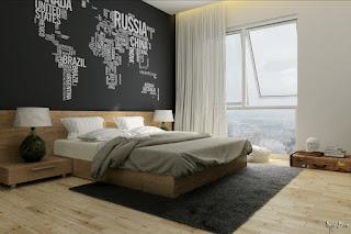 cat kamar tidur anak laki-laki Warna Hitam dan Putih