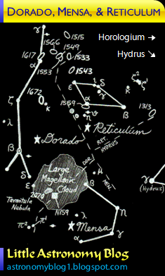 Constellation map of Dorado, Mensa, and Reticulum