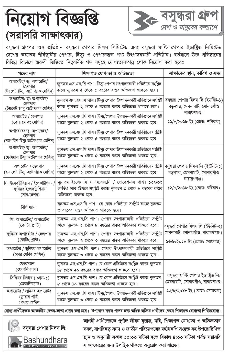 Bashundhara Paper Mils Limited Apply Instruction, Application Fee, Salary, Age and Other Information