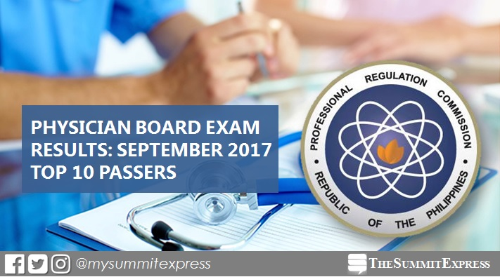 TOP 10 PASSERS: September 2017 Physician board exam results