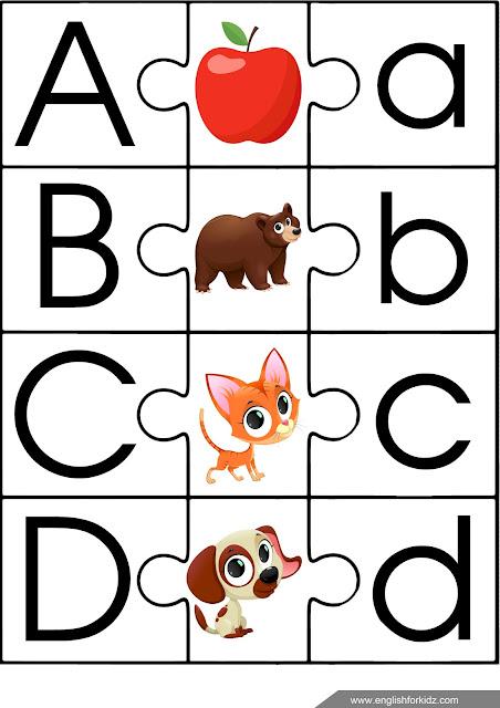 Printable English alphabet puzzle - ESL game for children