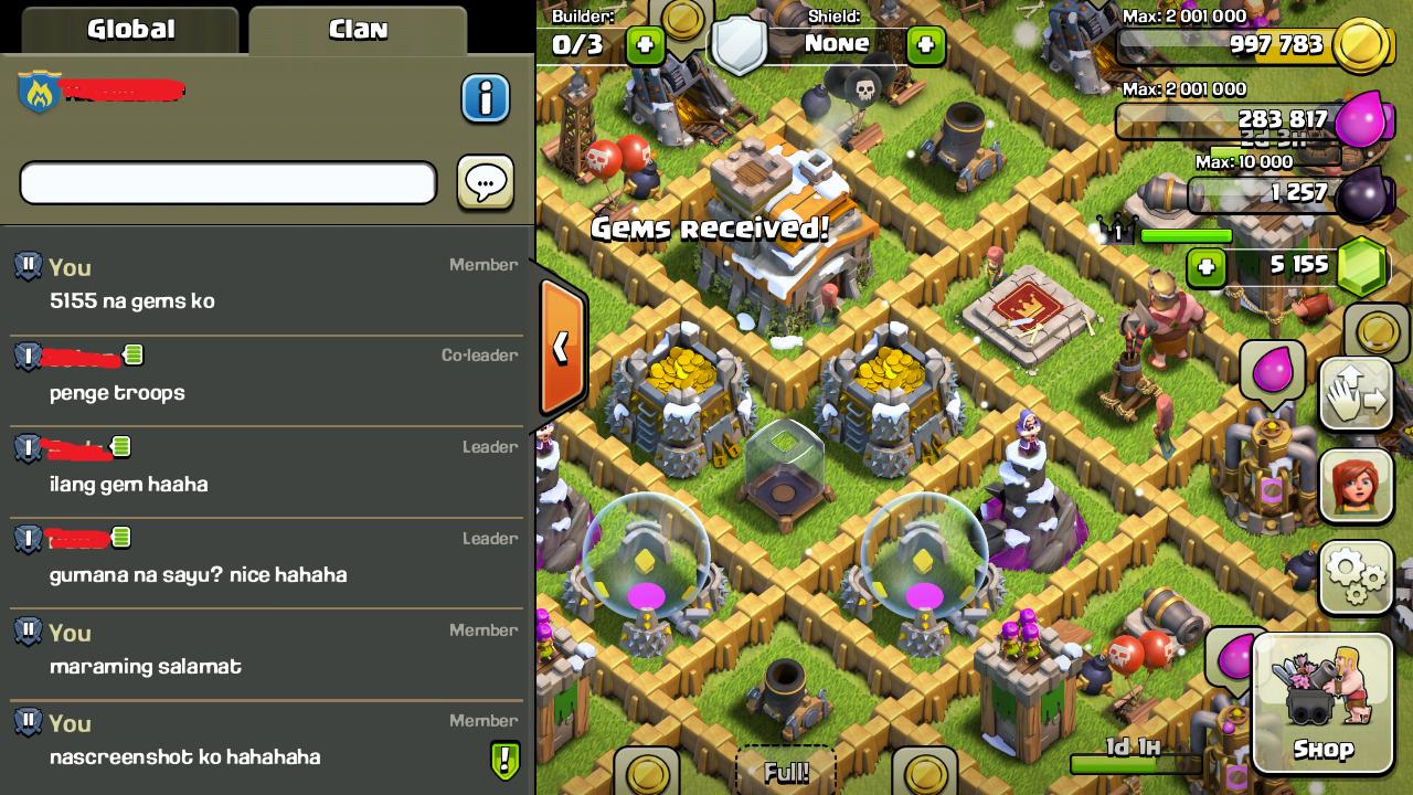 clash of clans bug glitch gems received 02