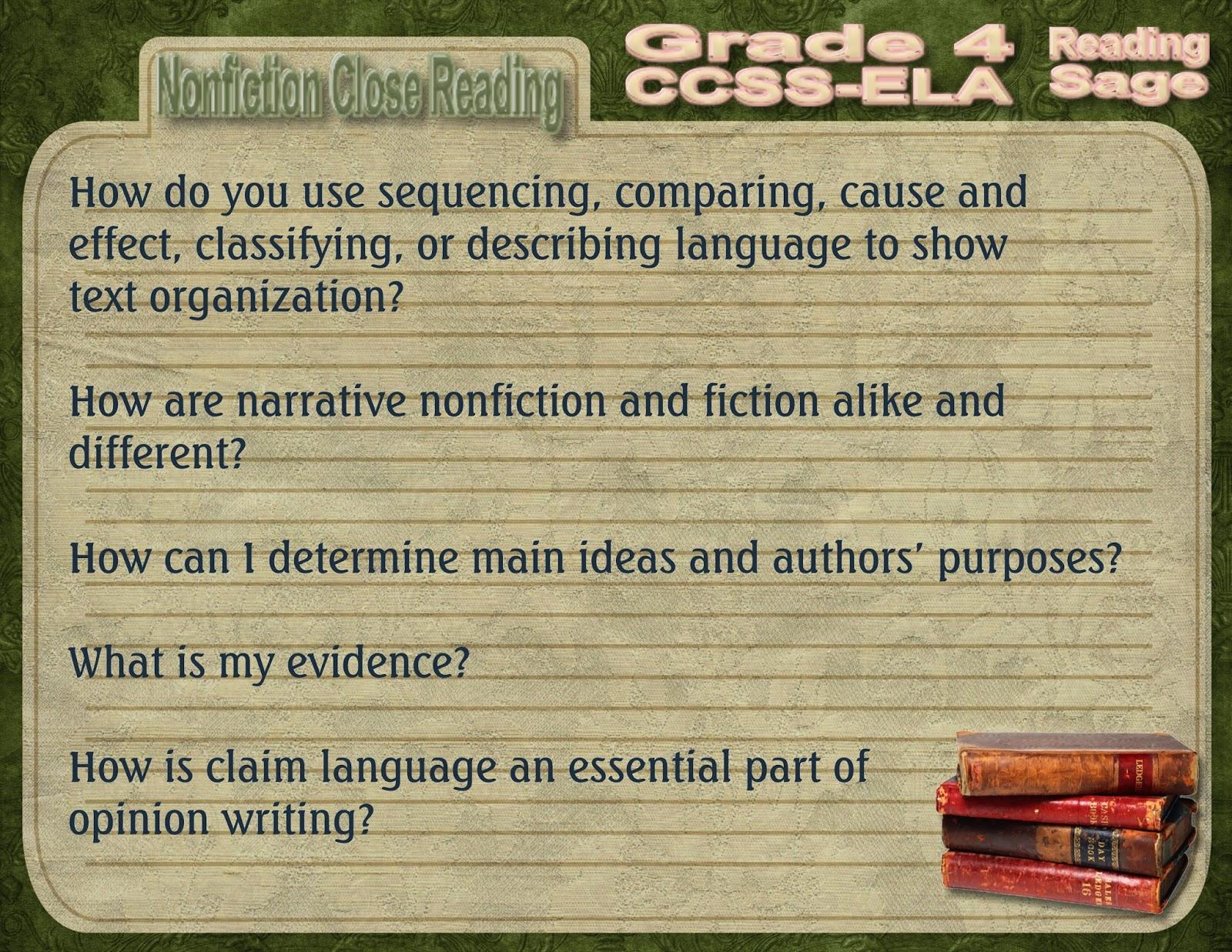 Reading Sage Grade 4 Nonfiction Close Reading Question Stems