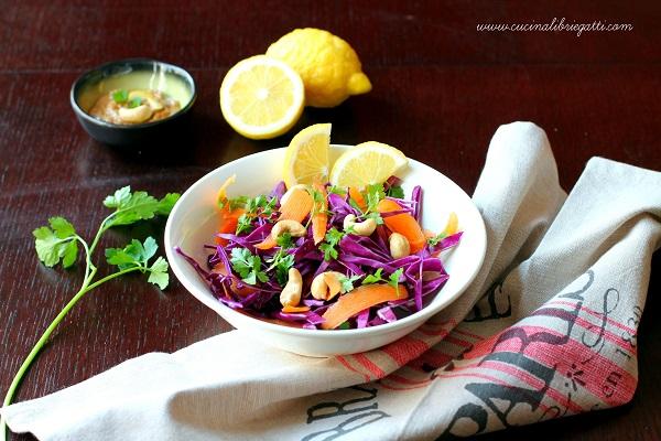 insalata cavolo rosso salsa arachidi