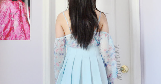 A cute, Japanese Liz Lisa-inspired outfit featuring an off-shoulder floral ruffled chiffon top from Wholesalebuying, a Fusion Republic pleated pastel blue tennis skirt, and white Jeffrey Campbell Lita Spike dupe platform booties.