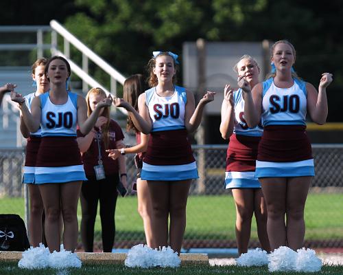 SJO cheerleaders perform at the Fall Kickoff