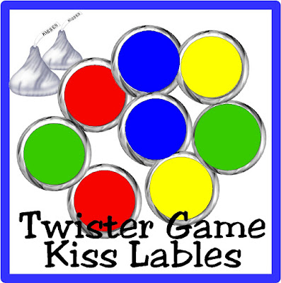 Enjoy a sweet treat at your next Game Night party with these easy and fun Twister Game kiss labels. These printables are the perfect addition to your snacks or as a party favor for your guests. #gamenight #twister #kisslabels #printableparty #diypartymomblog