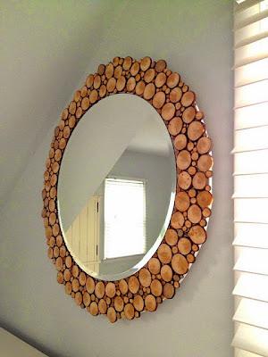 espejo DIY con pedazos de tronco