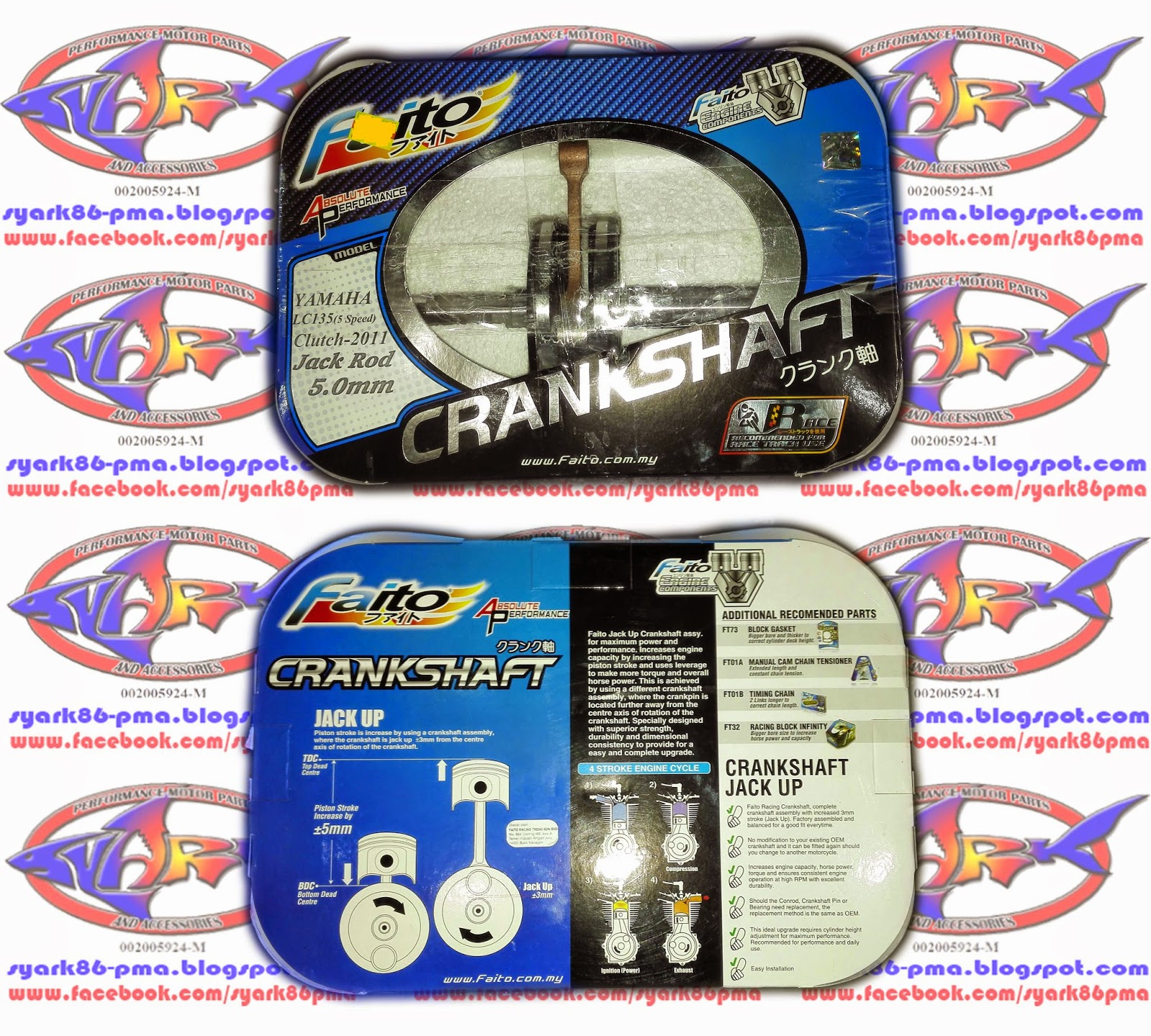 Harga Dan Spesifikasi Crankshaft Faito Update 2018 Visitbabelcom Tung Three Days Two Nite Syark Performance Motor Parts And Accessories Online Shop Est New Racing Jack Up 50mm