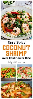 Easy Spicy Coconut Milk Shrimp (over Cauliflower Rice or Rice) found on KalynsKitchen.com