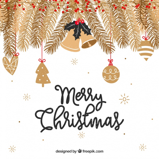 Christmas background with golden branches Free Vector
