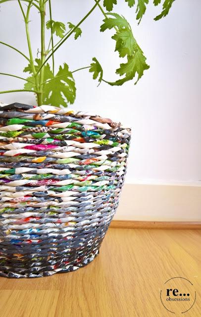 wicker paper, basket, recycle, papierowa wiklina koszyk, osłonki na doniczki, geranium
