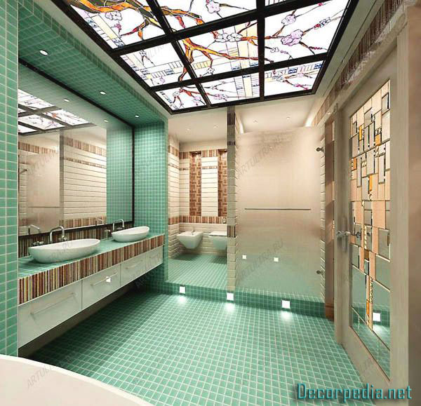 bathroom ceiling designs 2019, stained glass ceiling for bathroom with lighting ideas