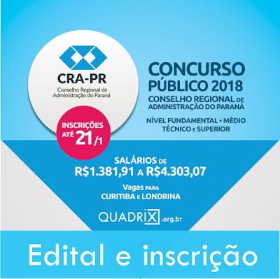 Concurso CRA-PR edital 2018