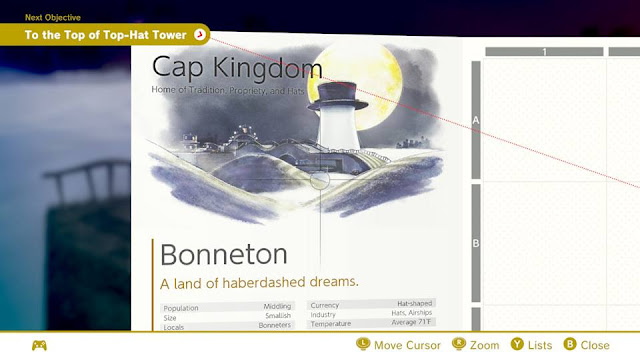 Super Mario Odyssey Cap Kingdom Bonneton map atlas guide