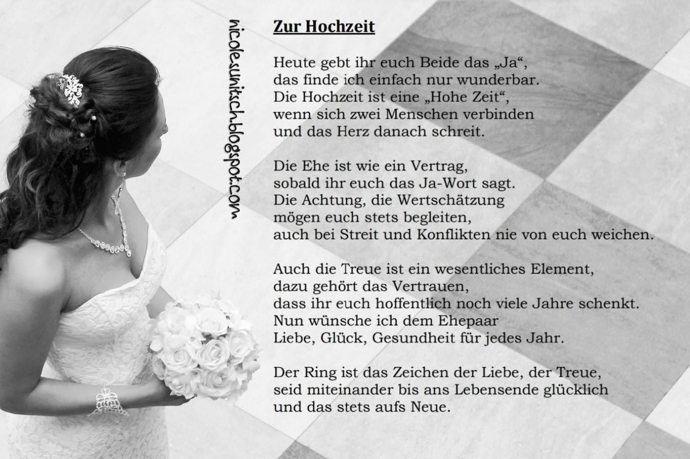 Gedichte von Nicole Sunitsch - Autorin : Zur Hochzeit