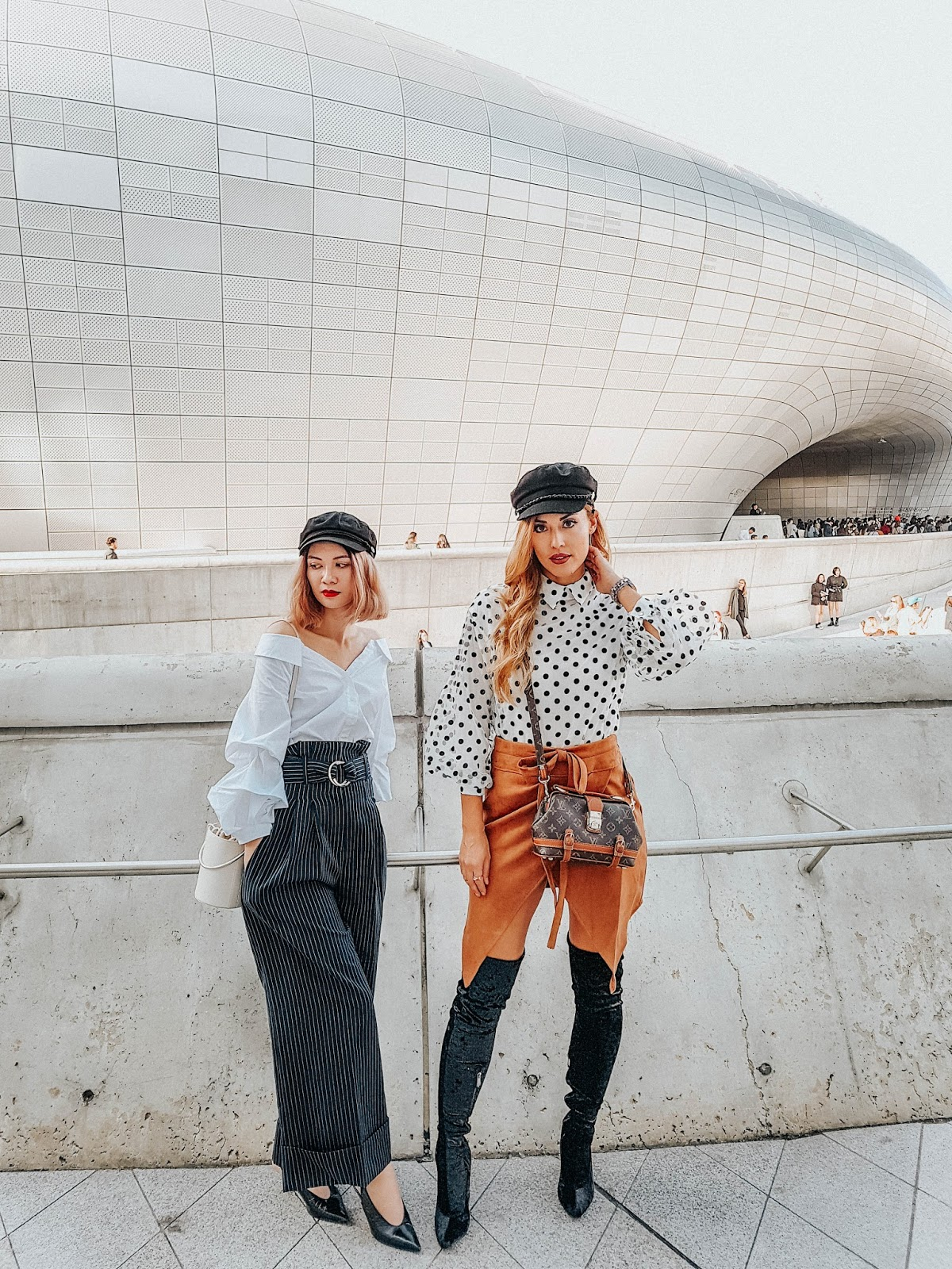 korea travel guide, seoul travel guide, seoul, korea, ddp, dongdaemun design plaza, dongdaemun, travel guide, travel, seoul tourism, travel blog, and other stories, chloe girl, chloe faye, seoul fashion week, oak and fort, wide legged pants, jacquemus, off the shoulder top, brixton hat,