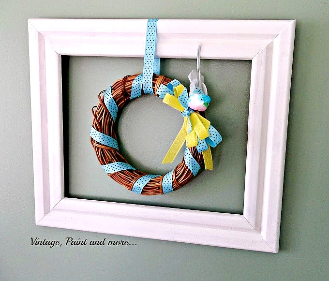 Vintage Paint and more... a framed blue and yellow grapevine wreath for Spring