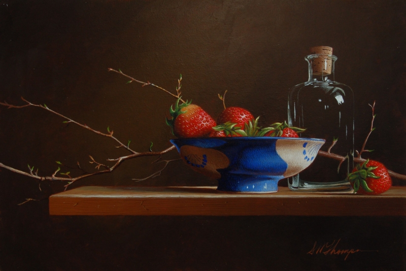 15-Still-Life-with-Strawberries-and-Blue-Bowl-Mark-Thompson-Photo-Realistic-Still-Life-Paintings-www-designstack-co