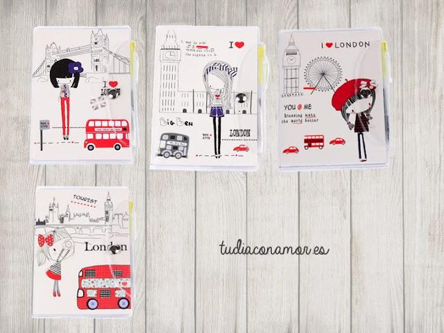 Libretas para mujer con ilustraciones de ciudades estilo naif