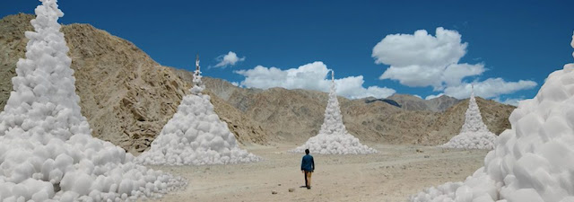 ice stupa an artificial glacier. Indian region of Ladakh Sonam Wangchuk