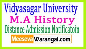 Vidyasagar University M.A History Part II Sess 2016-2017 Distance Admission Notificatoin
