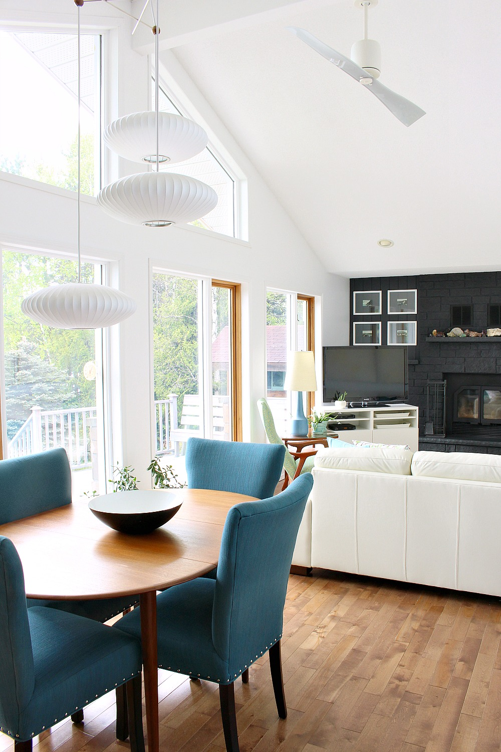 White living room with dark grey fireplace