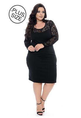 Vestido Plus Size Preto Renda