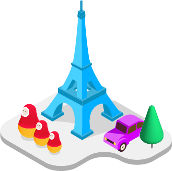 European illustration with Eiffel Tower and Matryoshka dolls