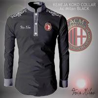 Baju Koko Kemeja Collar AC Milan