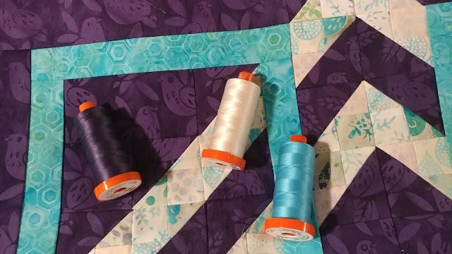 Turning Tiles quilt using Island Batik Lavendula fabrics and Aurifil thread in McCall's Quilting Jan/Feb 2019 magazine