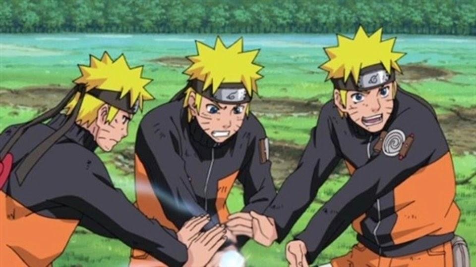 Naruto combinando el elemto viento a su rasengan
