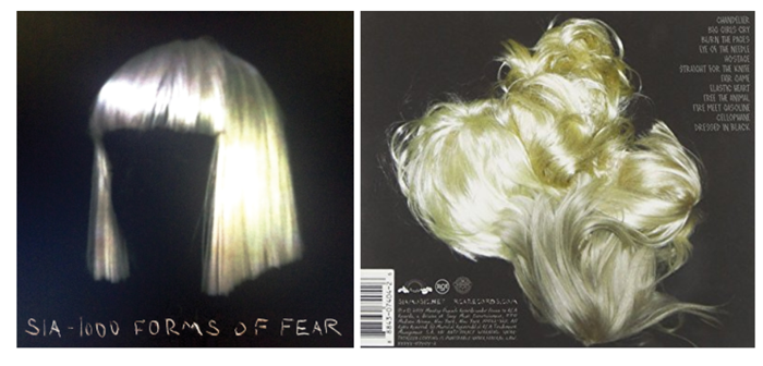 This Is An Album By Sia Called 1000 Forms Of Fear The Front Cover Has A Black Background With Main Image Being Blonde Wig In Centre