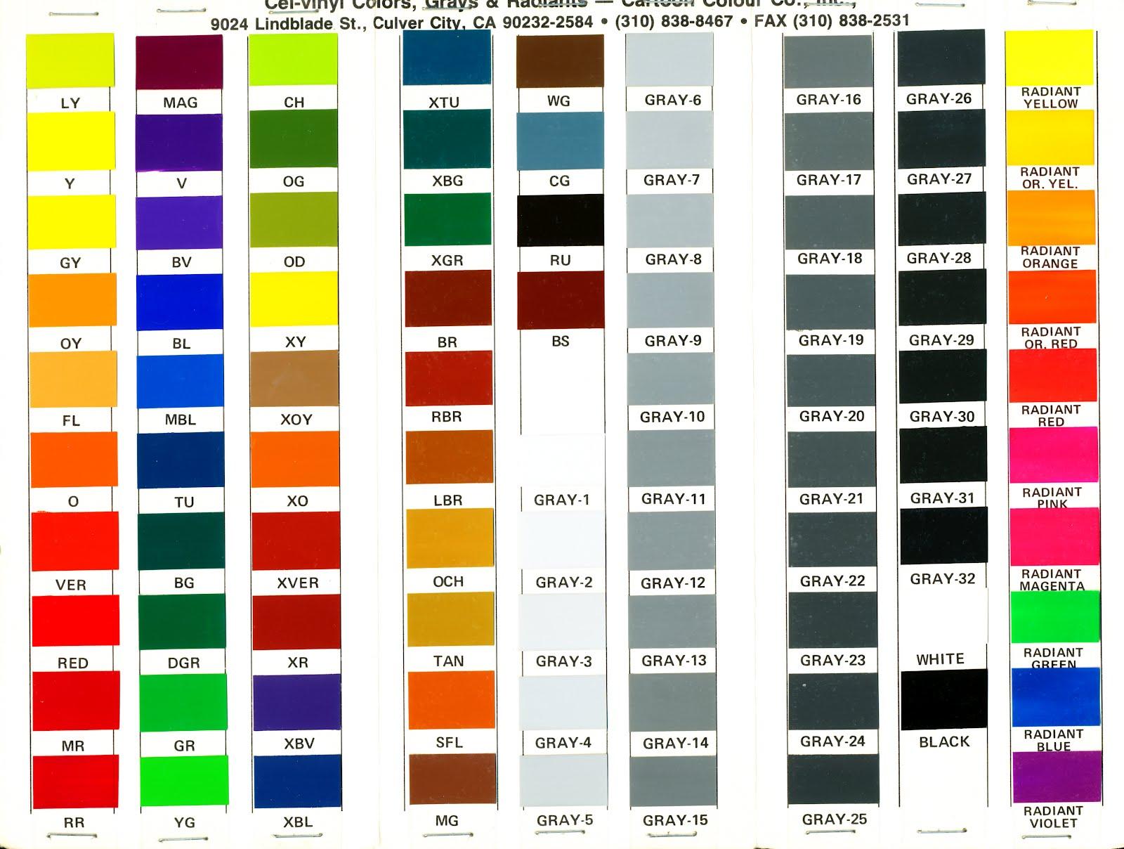 Bonus The Cel Vinyl Fold Out Color Chart