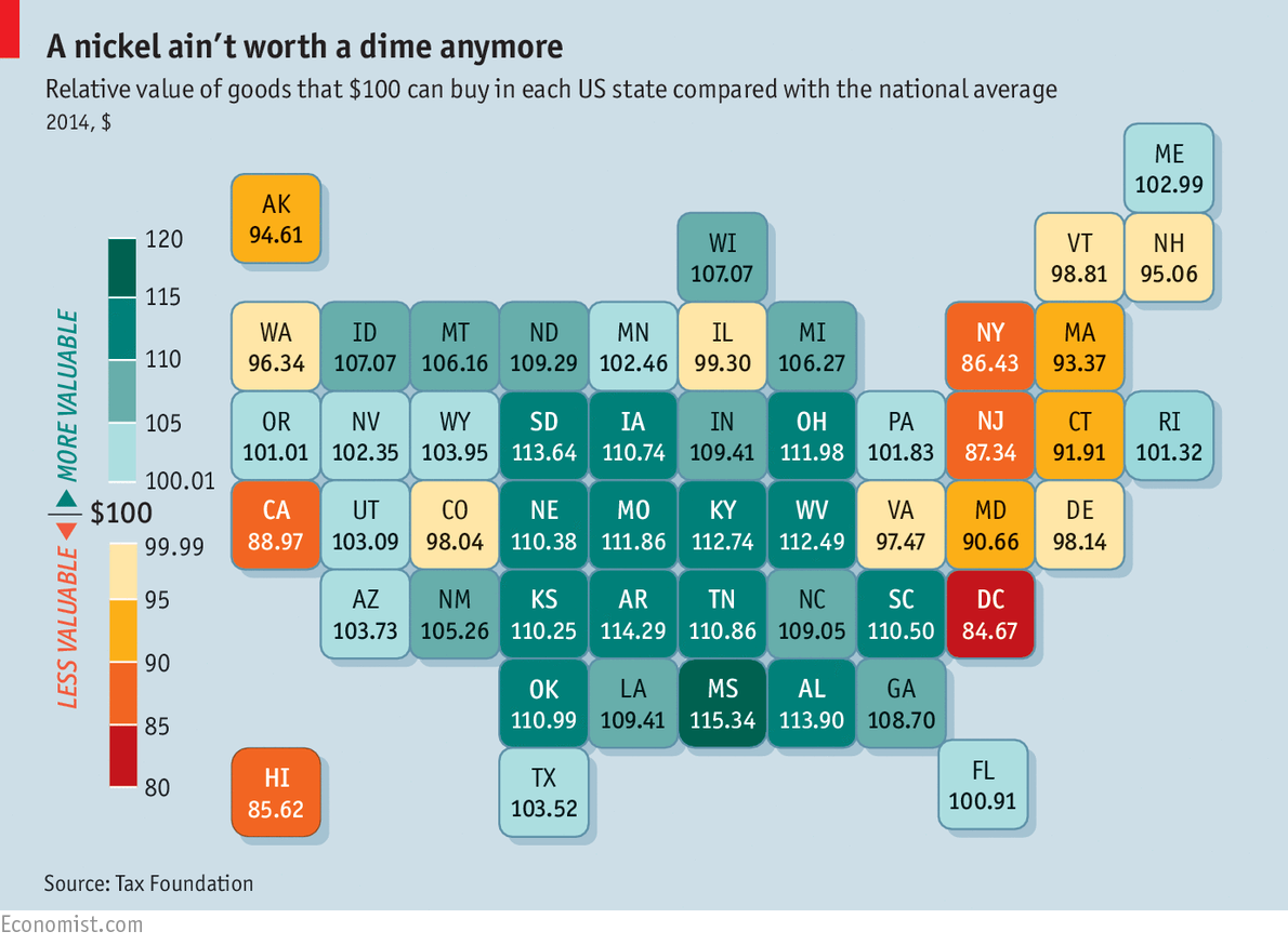 Relative value of goods that $100 can buy in each U.S. state compared with the national average