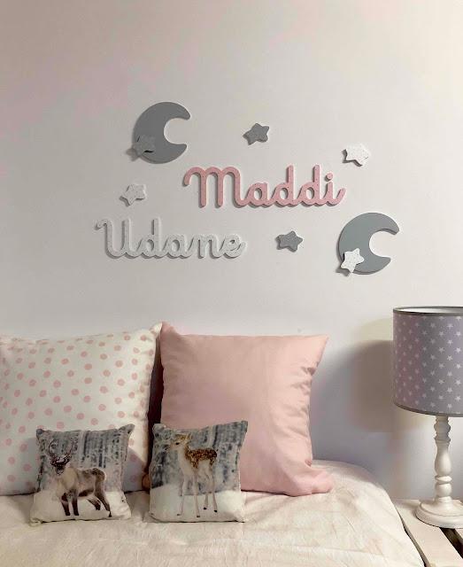 Nombres decorativos de niño y de niña para la pared