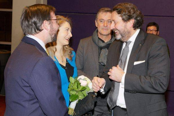"Prince Guillaume and  PrincessStephanie attended the premiere of the film ""Rusty Boys"" at the Utopolis Kirchberg in Luxembourg. Stephanie wore Prada dress, and Aquamarine gold earrings"