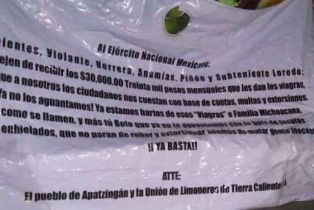 """Ya salio el peine en mantas, limoneros se quejan con el Ejército por cobro de cuotas de """"Los Viagras"""" en Michoacán."""