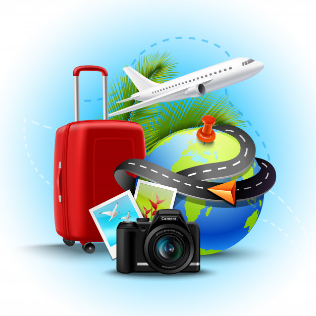 Vacation and holidays background with realistic globe suitcase and photo camera Free Vector