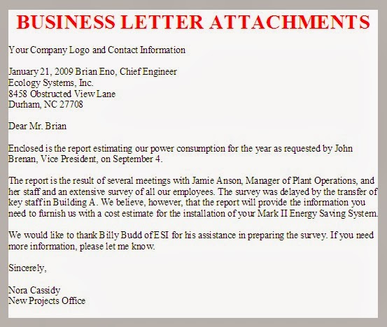 Writing A Business Letter Format Cc Attachment