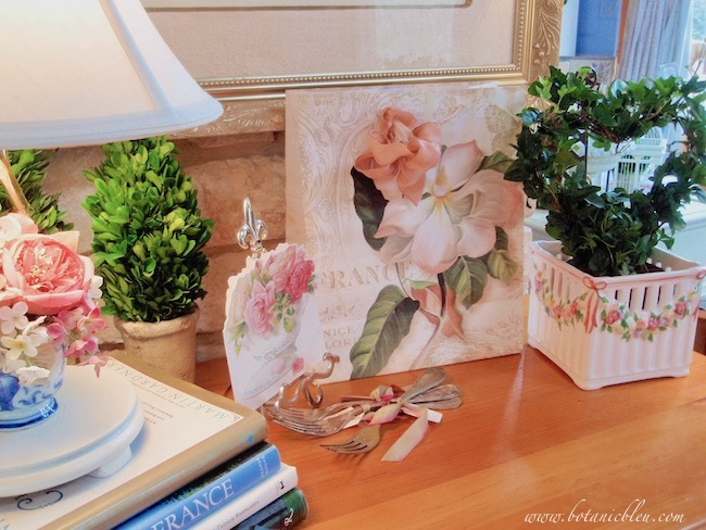 A vignette of pink roses celebrates Valentine's Day