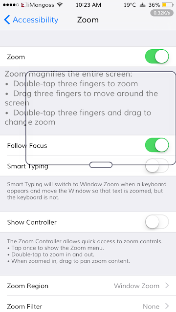 It's very simple. When your iPhone or iPad get stuck in Zoom screen, then in that case simply double tap on the zoomed screen with your three fingers.