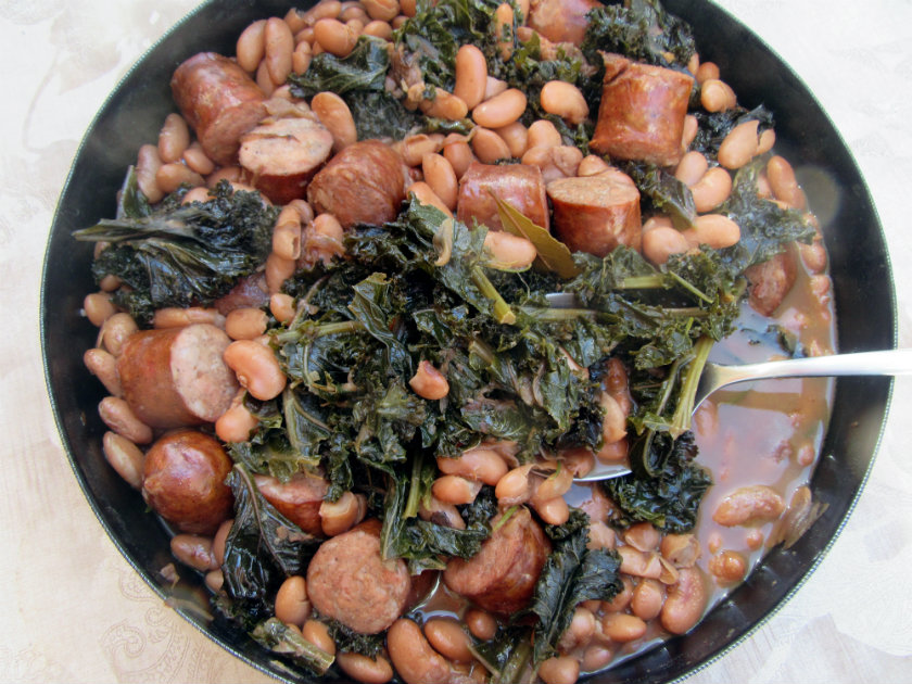 Collard greens with white beans and sausage by Laka kuharica: stir in the lime zest and juice