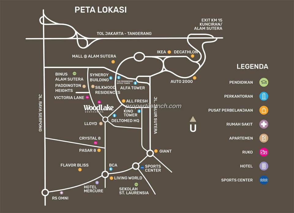 Peta Lokasi Ruko Woodlake Alam Sutera