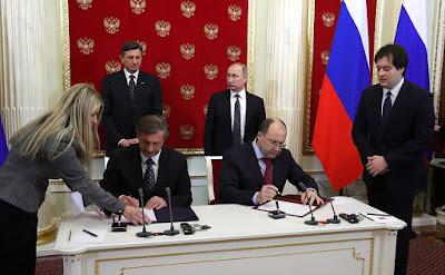Kremlin, Russian-Slovenian documents signing.